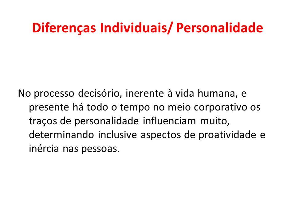 Diferenças Individuais/ Personalidade No processo decisório, inerente à vida humana, e presente há todo o tempo no meio corporativo os traços de perso