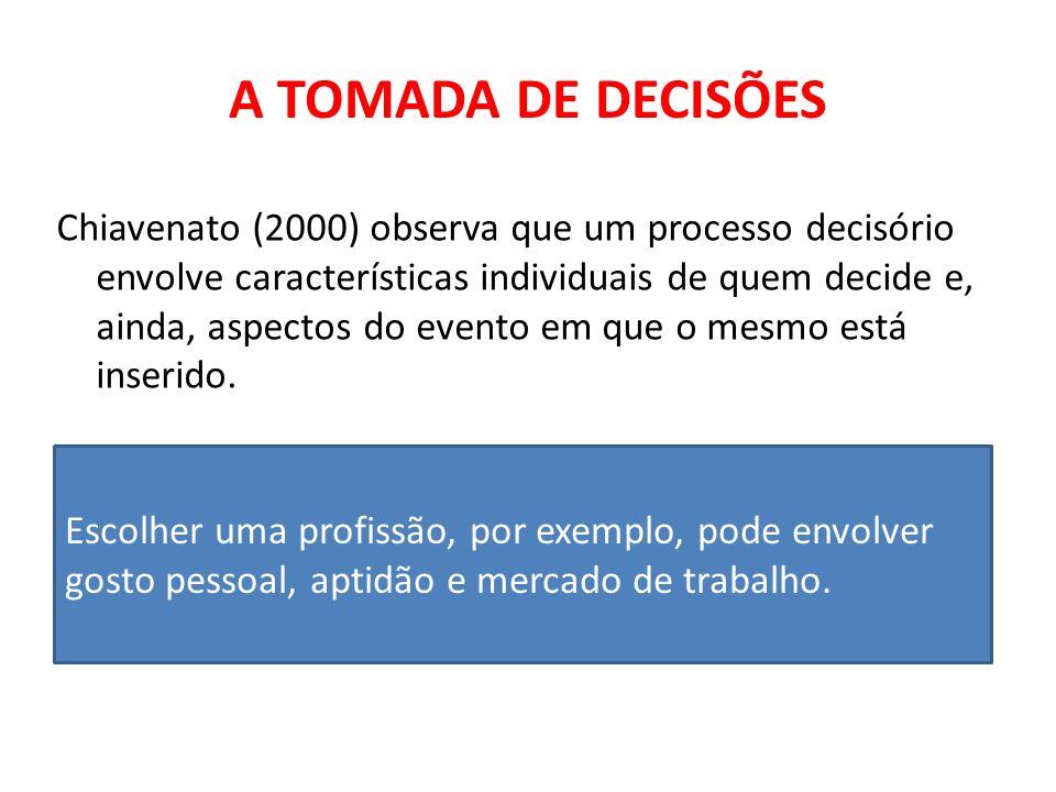 A TOMADA DE DECISÕES Chiavenato (2000) observa que um processo decisório envolve características individuais de quem decide e, ainda, aspectos do even