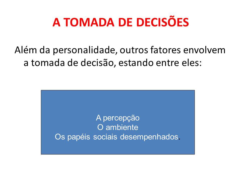 A TOMADA DE DECISÕES Além da personalidade, outros fatores envolvem a tomada de decisão, estando entre eles: A percepção O ambiente Os papéis sociais