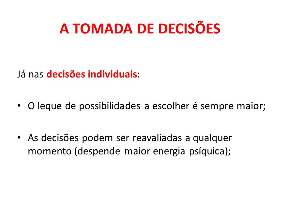Já nas decisões individuais: O leque de possibilidades a escolher é sempre maior; As decisões podem ser reavaliadas a qualquer momento (despende maior
