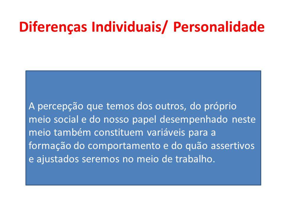 Diferenças Individuais/ Personalidade A percepção que temos dos outros, do próprio meio social e do nosso papel desempenhado neste meio também constit