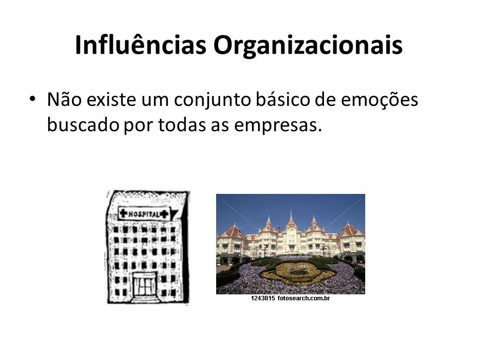 Influências Organizacionais Não existe um conjunto básico de emoções buscado por todas as empresas.