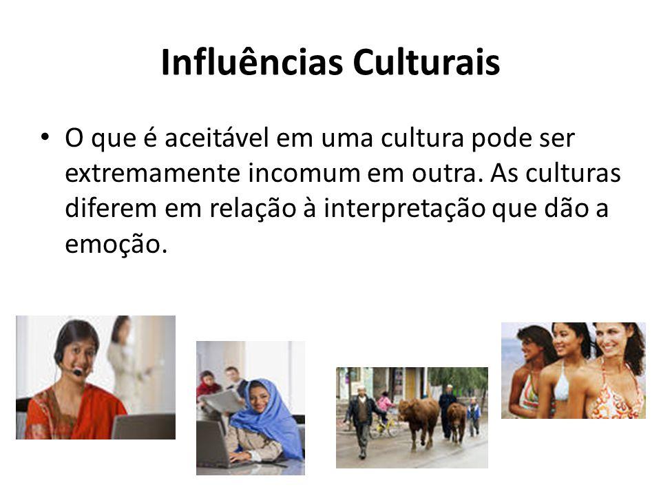 Influências Culturais O que é aceitável em uma cultura pode ser extremamente incomum em outra. As culturas diferem em relação à interpretação que dão