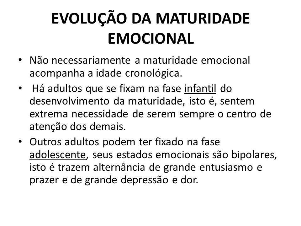 Não necessariamente a maturidade emocional acompanha a idade cronológica. Há adultos que se fixam na fase infantil do desenvolvimento da maturidade, i