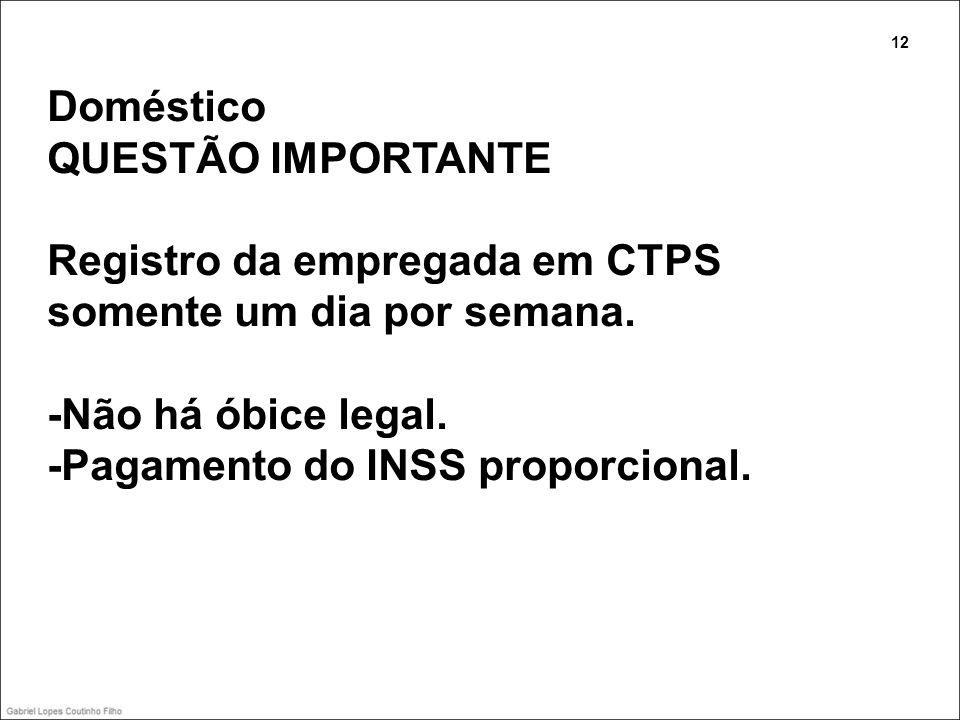 Doméstico QUESTÃO IMPORTANTE Registro da empregada em CTPS somente um dia por semana. -Não há óbice legal. -Pagamento do INSS proporcional. 12