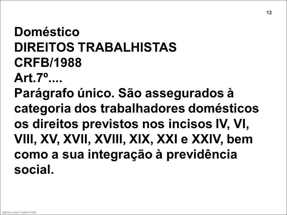 Doméstico DIREITOS TRABALHISTAS CRFB/1988 Art.7º.... Parágrafo único. São assegurados à categoria dos trabalhadores domésticos os direitos previstos n