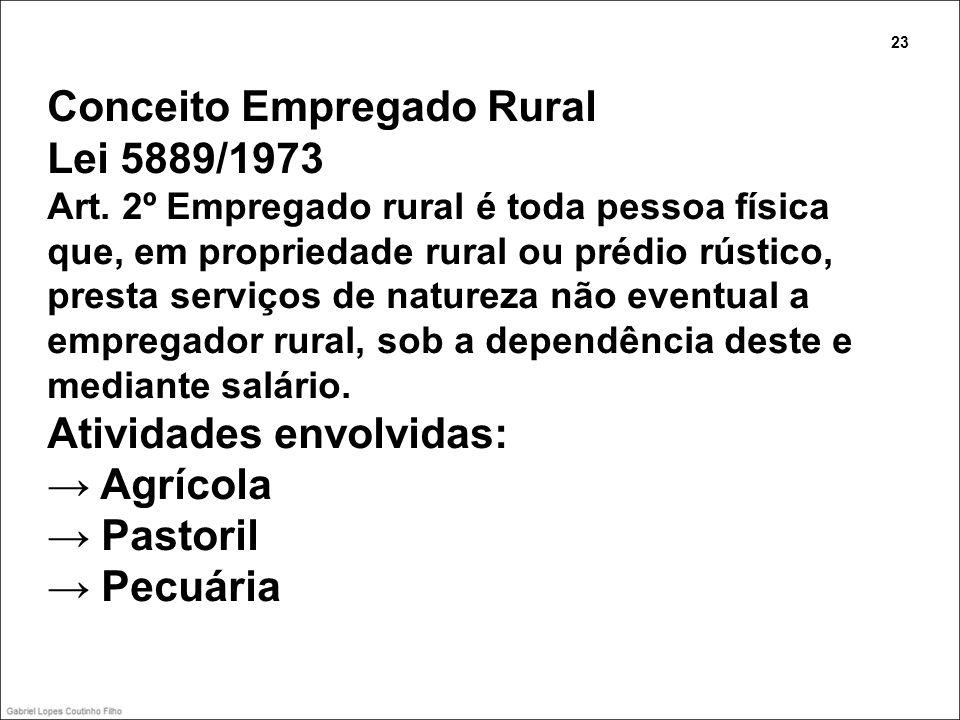 Conceito Empregado Rural Lei 5889/1973 Art. 2º Empregado rural é toda pessoa física que, em propriedade rural ou prédio rústico, presta serviços de na