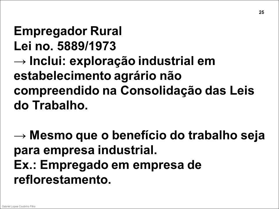 Empregador Rural Lei no. 5889/1973 Inclui: exploração industrial em estabelecimento agrário não compreendido na Consolidação das Leis do Trabalho. Mes