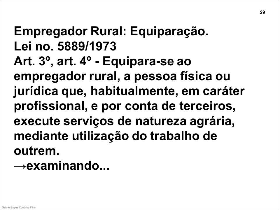 Empregador Rural: Equiparação. Lei no. 5889/1973 Art. 3º, art. 4º - Equipara-se ao empregador rural, a pessoa física ou jurídica que, habitualmente, e