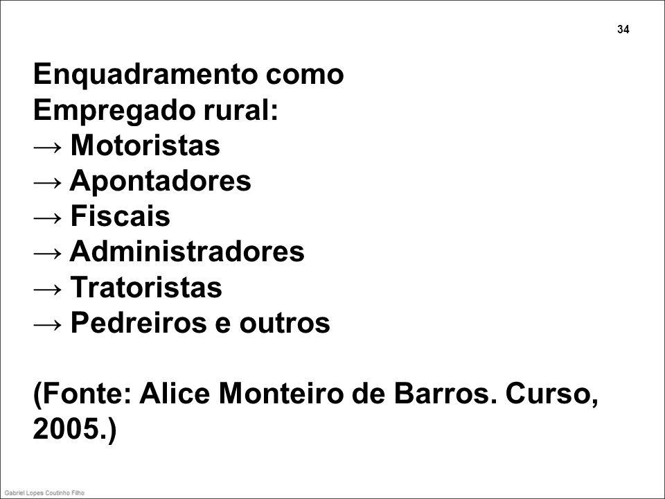 Enquadramento como Empregado rural: Motoristas Apontadores Fiscais Administradores Tratoristas Pedreiros e outros (Fonte: Alice Monteiro de Barros. Cu