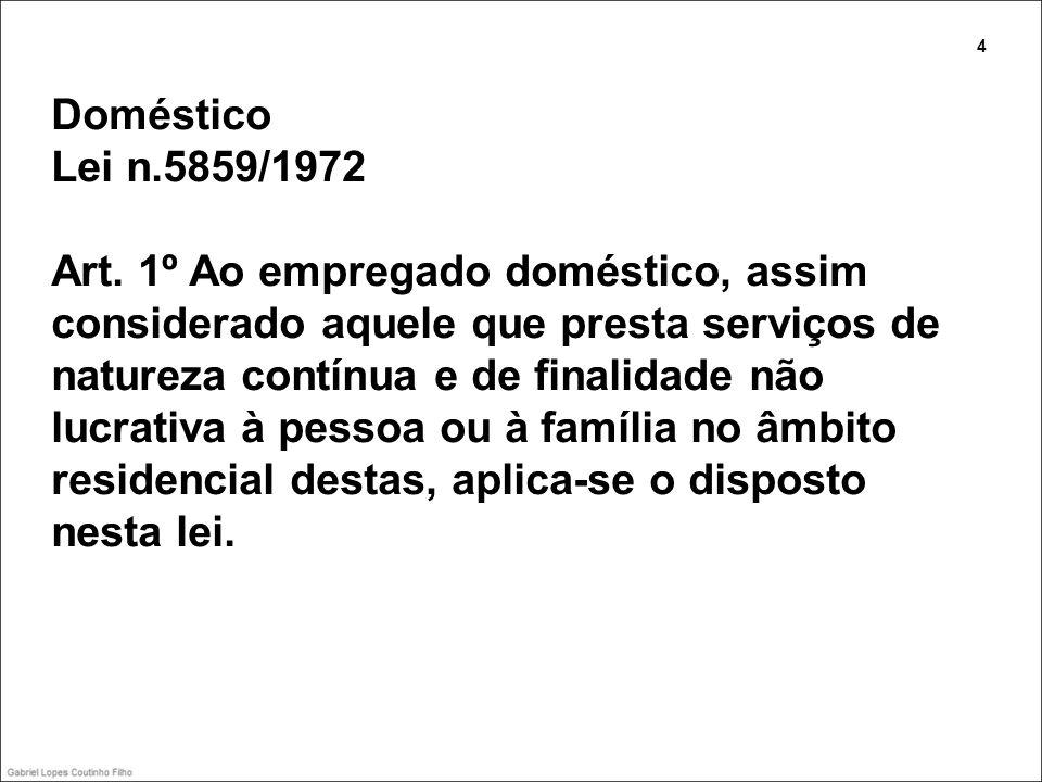 Doméstico Lei n.5859/1972 Art. 1º Ao empregado doméstico, assim considerado aquele que presta serviços de natureza contínua e de finalidade não lucrat