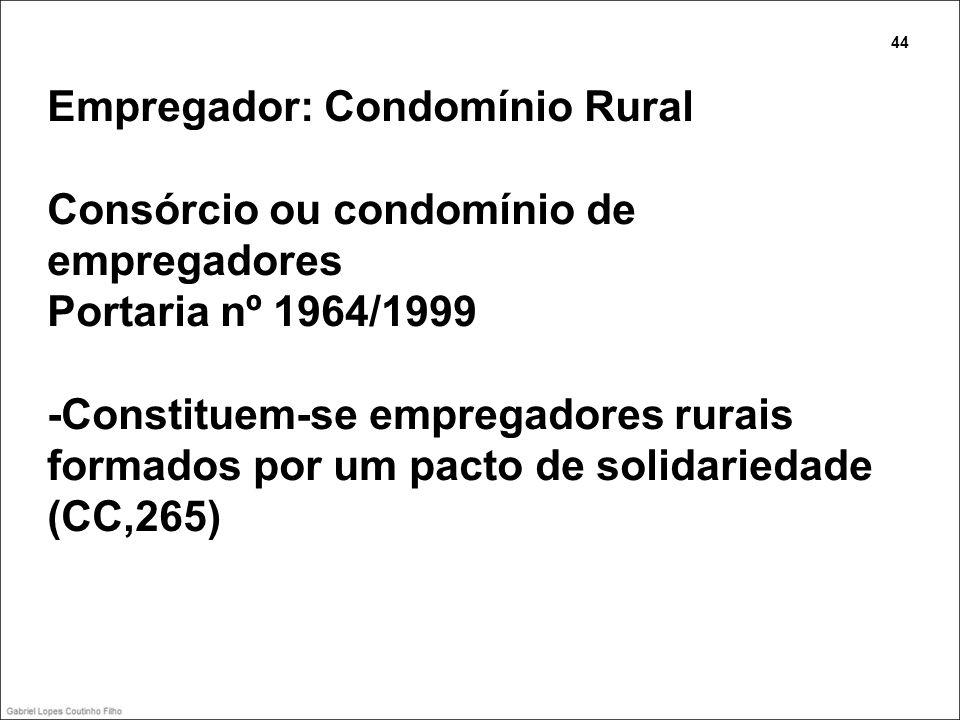 Empregador: Condomínio Rural Consórcio ou condomínio de empregadores Portaria nº 1964/1999 -Constituem-se empregadores rurais formados por um pacto de