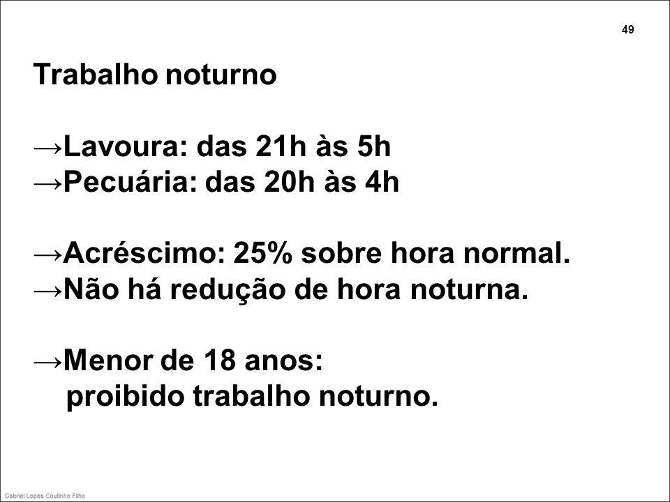 Trabalho noturno Lavoura: das 21h às 5h Pecuária: das 20h às 4h Acréscimo: 25% sobre hora normal. Não há redução de hora noturna. Menor de 18 anos: pr