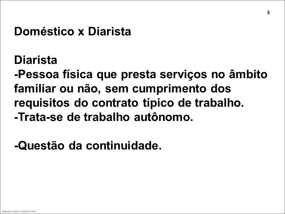 Doméstico x Diarista Diarista -Pessoa física que presta serviços no âmbito familiar ou não, sem cumprimento dos requisitos do contrato típico de traba