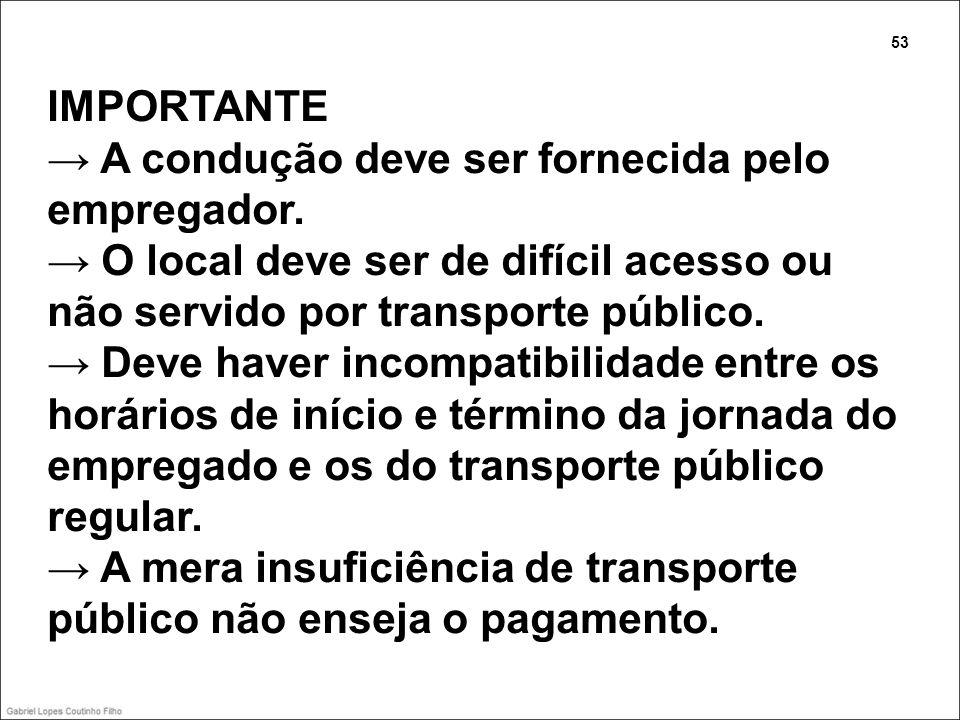 IMPORTANTE A condução deve ser fornecida pelo empregador. O local deve ser de difícil acesso ou não servido por transporte público. Deve haver incompa