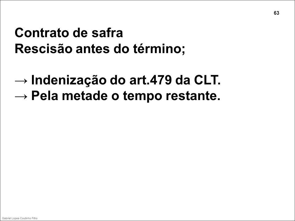 Contrato de safra Rescisão antes do término; Indenização do art.479 da CLT. Pela metade o tempo restante. 63