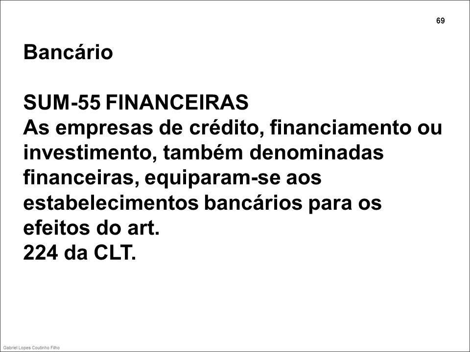 Bancário SUM-55 FINANCEIRAS As empresas de crédito, financiamento ou investimento, também denominadas financeiras, equiparam-se aos estabelecimentos b