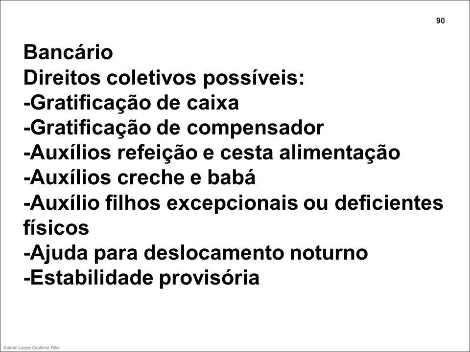 Bancário Direitos coletivos possíveis: -Gratificação de caixa -Gratificação de compensador -Auxílios refeição e cesta alimentação -Auxílios creche e b