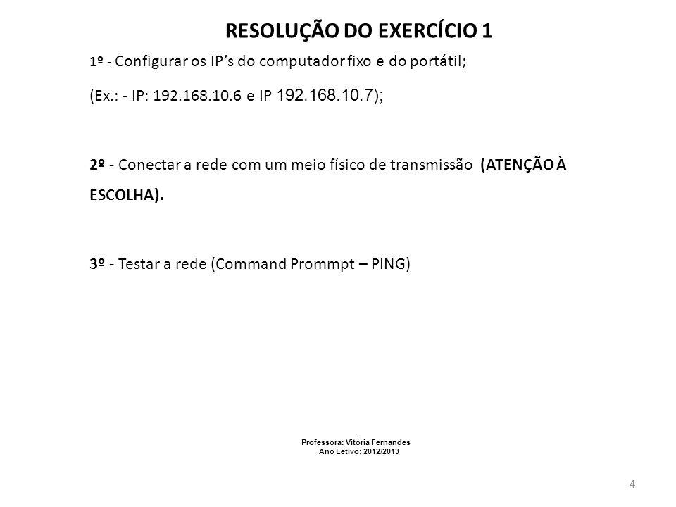 Professora: Vitória Fernandes Ano Letivo: 2012/2013 5 EXERCÍCIO 2 Ligação a um Switch