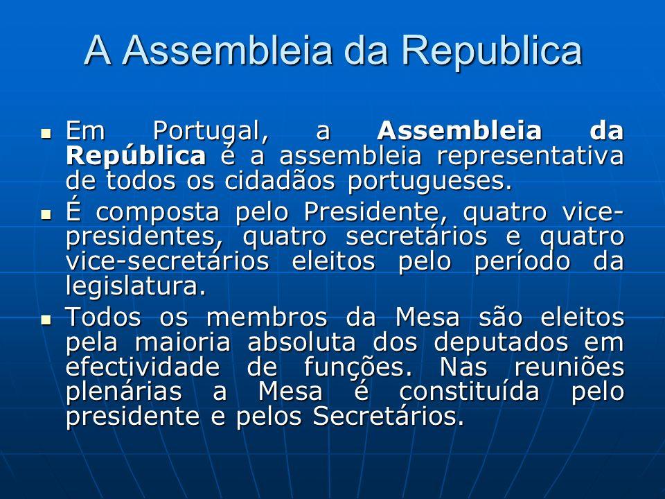 A Assembleia da Republica Em Portugal, a Assembleia da República é a assembleia representativa de todos os cidadãos portugueses. Em Portugal, a Assemb