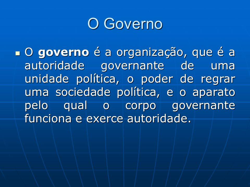 O Governo O governo é a organização, que é a autoridade governante de uma unidade política, o poder de regrar uma sociedade política, e o aparato pelo