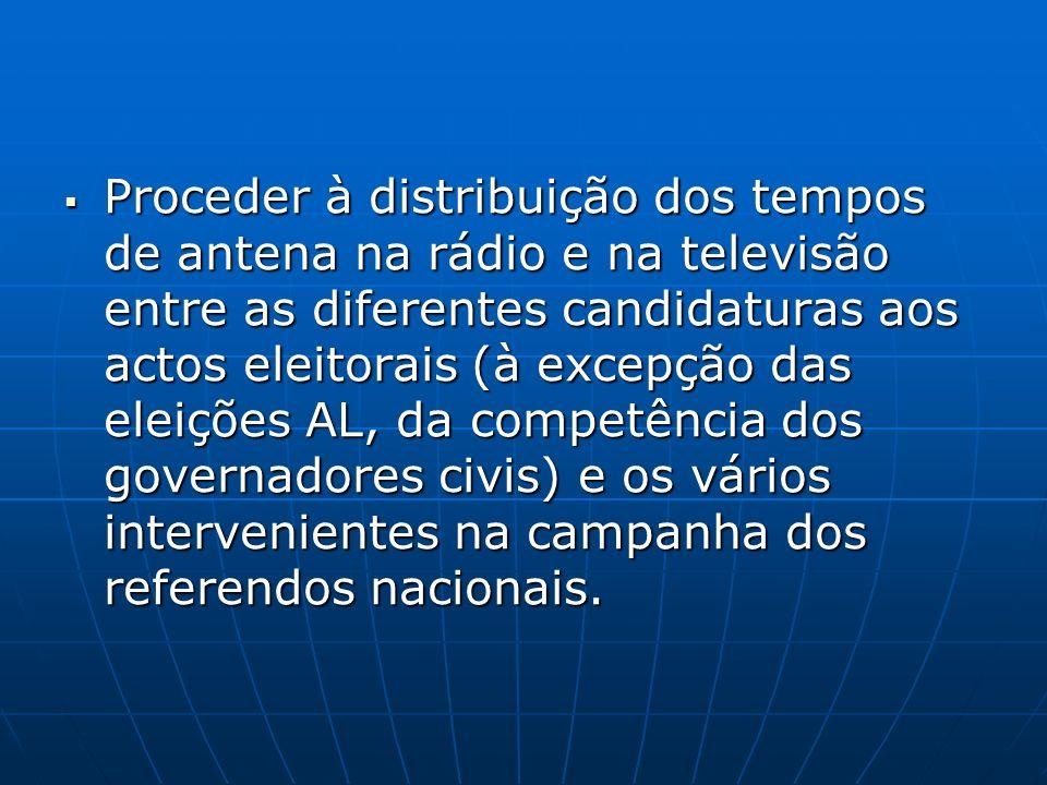 Proceder à distribuição dos tempos de antena na rádio e na televisão entre as diferentes candidaturas aos actos eleitorais (à excepção das eleições AL