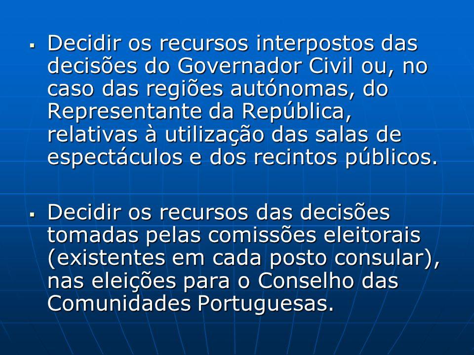 Decidir os recursos interpostos das decisões do Governador Civil ou, no caso das regiões autónomas, do Representante da República, relativas à utiliza