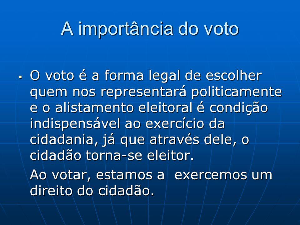 A importância do voto O voto é a forma legal de escolher quem nos representará politicamente e o alistamento eleitoral é condição indispensável ao exe