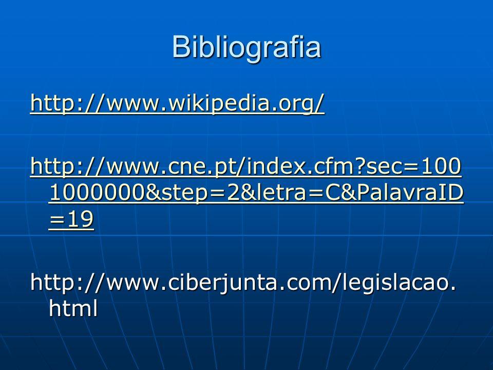 Bibliografia http://www.wikipedia.org/ http://www.cne.pt/index.cfm?sec=100 1000000&step=2&letra=C&PalavraID =19 http://www.cne.pt/index.cfm?sec=100 10