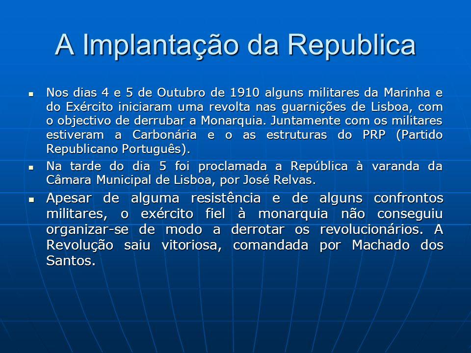 A bandeira Portuguesa Foi esta bandeira, instituída em Novembro de 1910, pouco depois da implantação da República em Portugal (5 de Outubro de 1910).Houve um grande debate para decidir se iriam manter-se as cores azul- branco da monarquia ou se adoptaria o verde-vermelho do Partido Republicano Português.