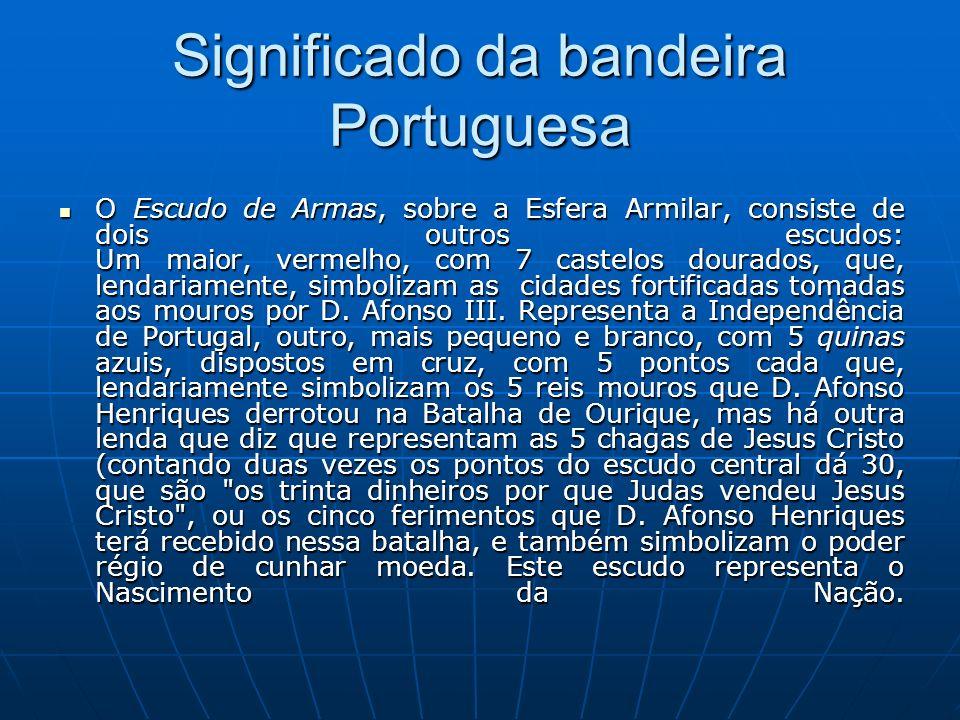 Significado da bandeira Portuguesa O Escudo de Armas, sobre a Esfera Armilar, consiste de dois outros escudos: Um maior, vermelho, com 7 castelos dour