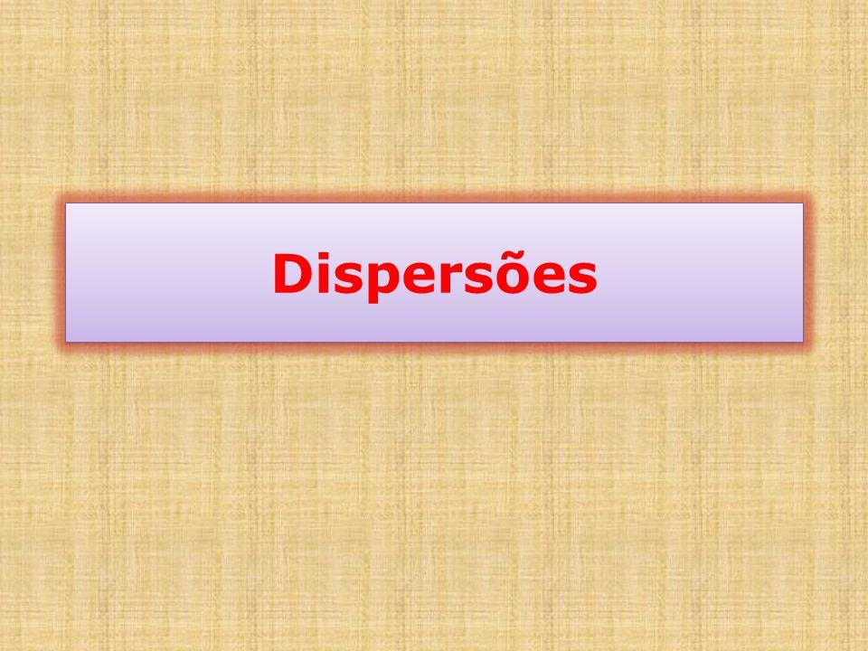 DispersoDispersanteNome ComunExemplo SólidoLíquidoSol - SolidoProteinas, detergentes com água, etc.