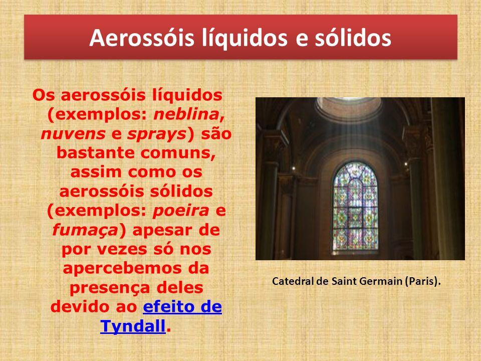 Aerossóis líquidos e sólidos Os aerossóis líquidos (exemplos: neblina, nuvens e sprays) são bastante comuns, assim como os aerossóis sólidos (exemplos