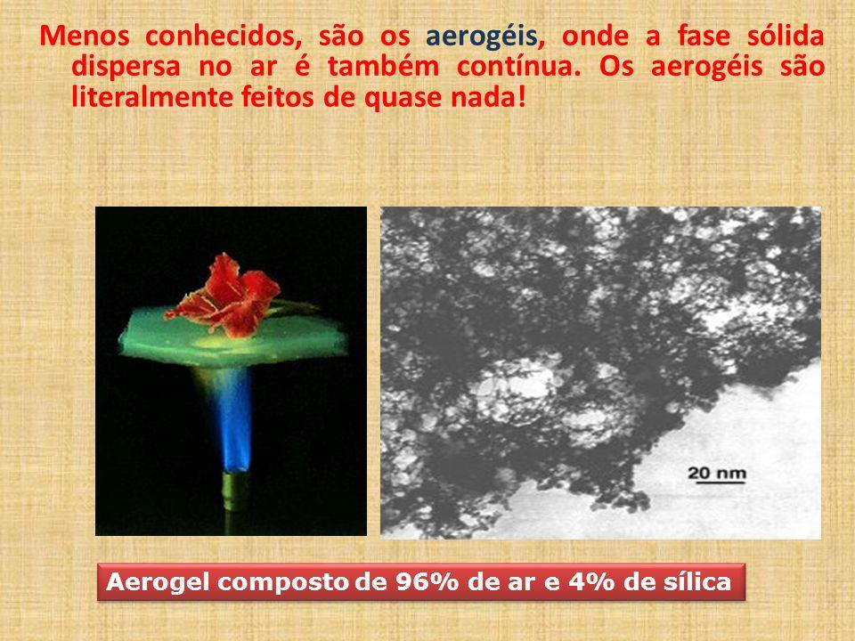 Menos conhecidos, são os aerogéis, onde a fase sólida dispersa no ar é também contínua. Os aerogéis são literalmente feitos de quase nada! Aerogel com