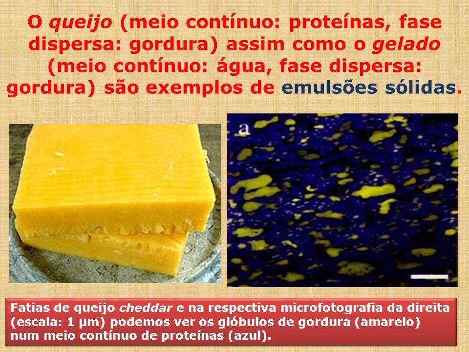 O queijo (meio contínuo: proteínas, fase dispersa: gordura) assim como o gelado (meio contínuo: água, fase dispersa: gordura) são exemplos de emulsões