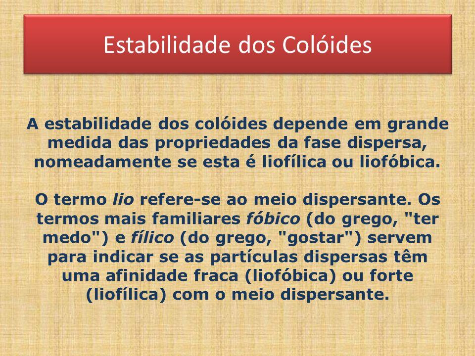 Estabilidade dos Colóides A estabilidade dos colóides depende em grande medida das propriedades da fase dispersa, nomeadamente se esta é liofílica ou