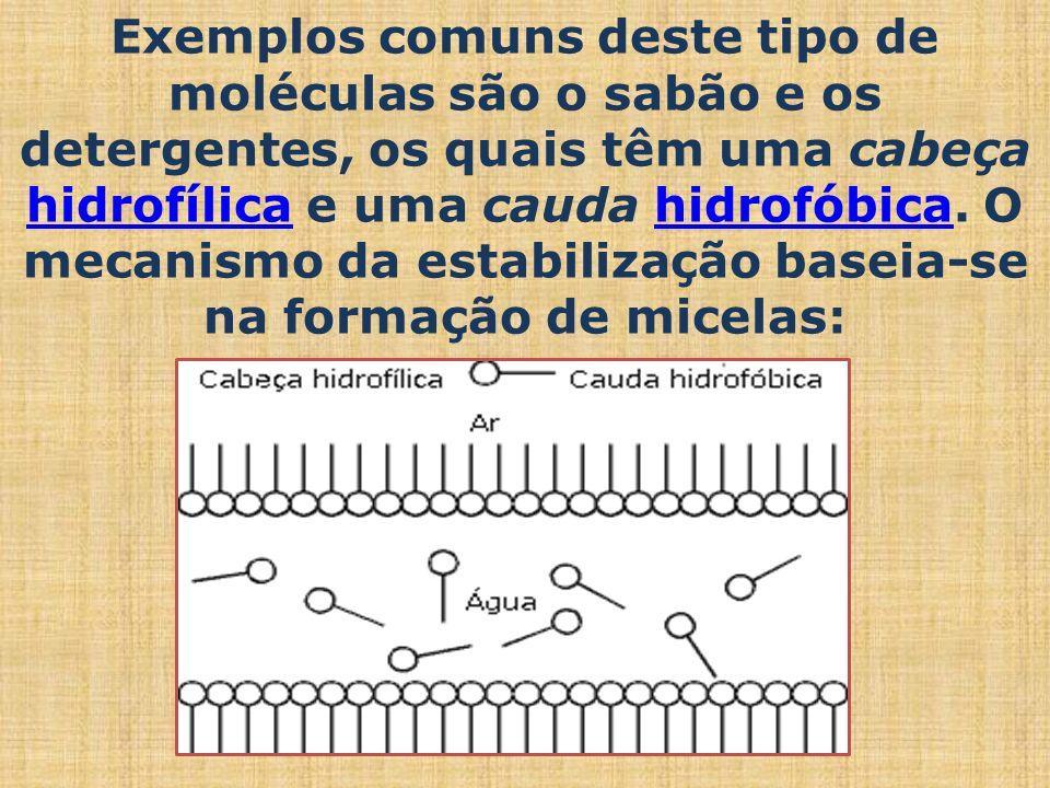 Exemplos comuns deste tipo de moléculas são o sabão e os detergentes, os quais têm uma cabeça hidrofílica e uma cauda hidrofóbica. O mecanismo da esta