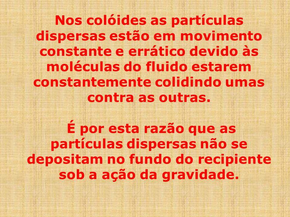 Nos colóides as partículas dispersas estão em movimento constante e errático devido às moléculas do fluido estarem constantemente colidindo umas contr