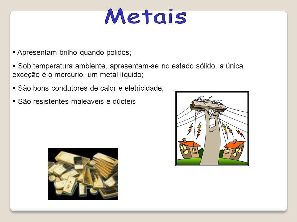 Apresentam brilho quando polidos; Sob temperatura ambiente, apresentam-se no estado sólido, a única exceção é o mercúrio, um metal líquido; São bons c