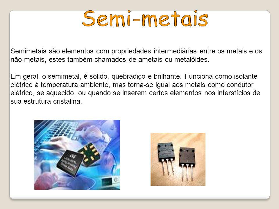 Semimetais são elementos com propriedades intermediárias entre os metais e os não-metais, estes também chamados de ametais ou metalóides. Em geral, o