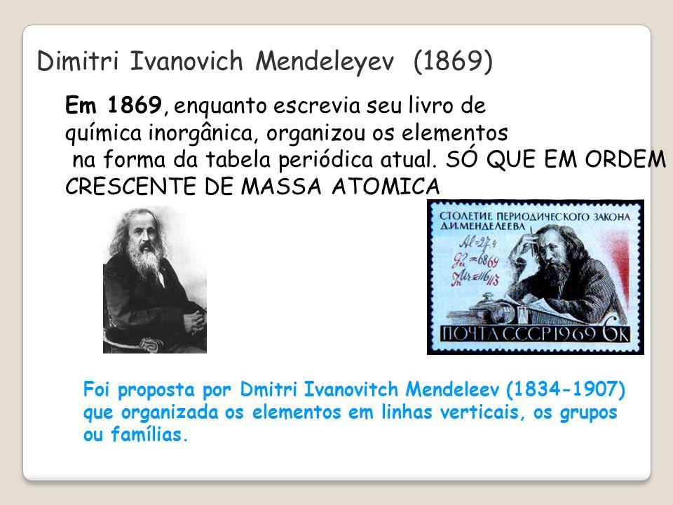 Dimitri Ivanovich Mendeleyev (1869) Foi proposta por Dmitri Ivanovitch Mendeleev (1834-1907) que organizada os elementos em linhas verticais, os grupo