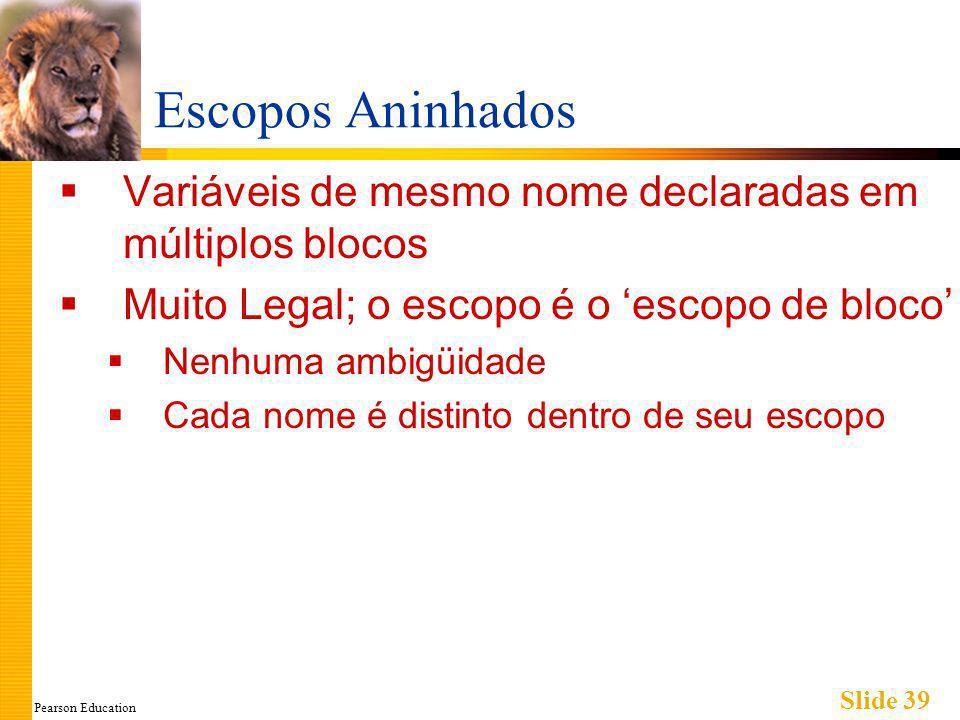 Pearson Education Slide 39 Escopos Aninhados Variáveis de mesmo nome declaradas em múltiplos blocos Muito Legal; o escopo é o escopo de bloco Nenhuma ambigüidade Cada nome é distinto dentro de seu escopo