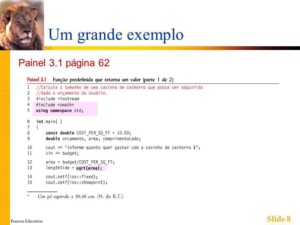 Pearson Education Slide 29 Definindo Funções void Similar a funções que retornam um valor Tipo retornado especificado como void Exemplo: Declaração/protótipo de função : void mostraResultados (double fDegrees, double cDegrees); Tipo retornado é void Nada é retornado