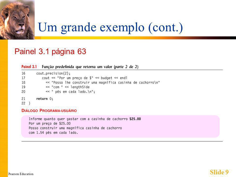Pearson Education Slide 30 Declarando Funções void Definição de função : void mostraResultados(double fDegrees, double cDegrees) { cout.setf(ios::fixed); cout.setf(ios::showpoint); cout.precision(1); cout << fDegrees << degrees fahrenheit igual a \n << cDegrees << degrees celsius.\n; } Observação: Nenhum comando return Opcional para funções void