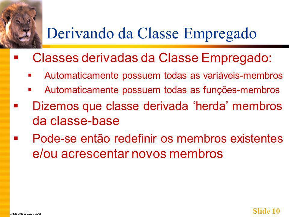 Pearson Education Slide 10 Derivando da Classe Empregado Classes derivadas da Classe Empregado: Automaticamente possuem todas as variáveis-membros Automaticamente possuem todas as funções-membros Dizemos que classe derivada herda membros da classe-base Pode-se então redefinir os membros existentes e/ou acrescentar novos membros