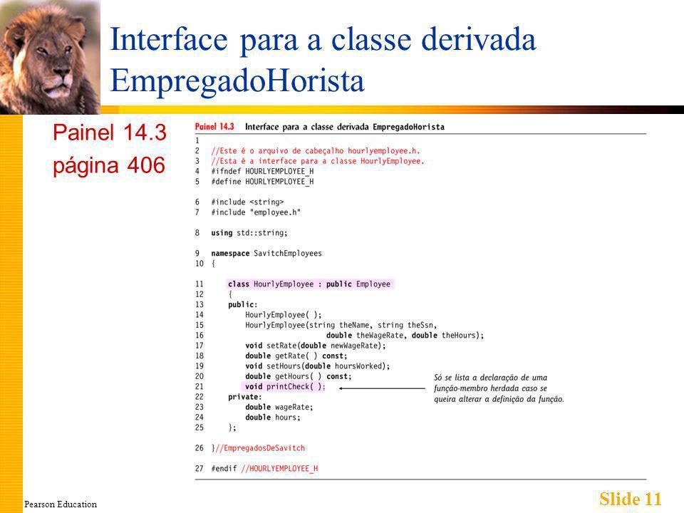 Pearson Education Slide 11 Interface para a classe derivada EmpregadoHorista Painel 14.3 página 406