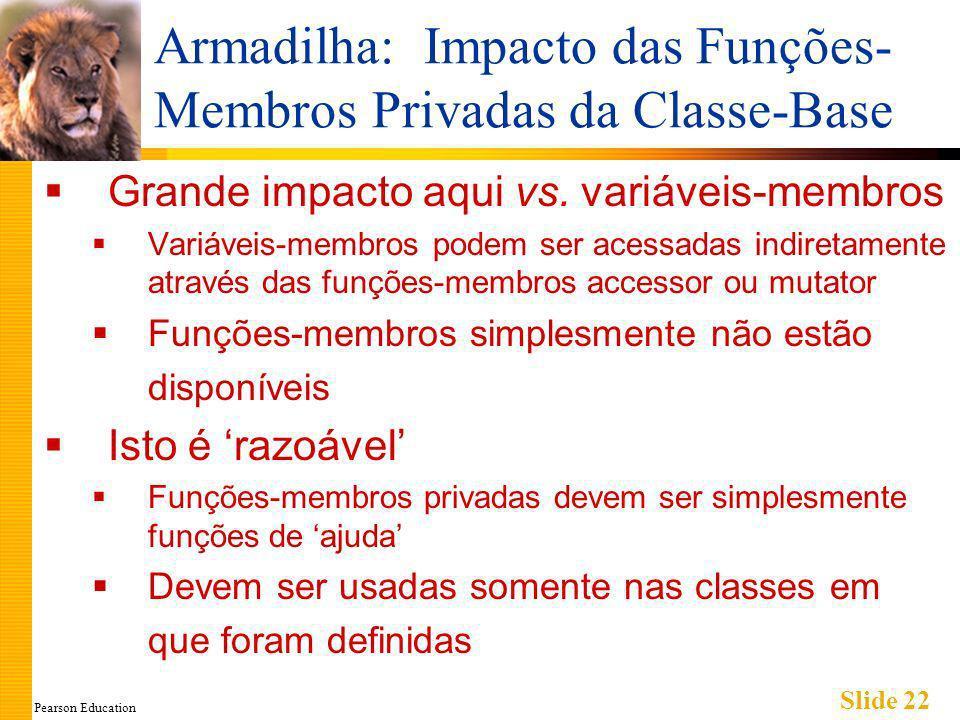 Pearson Education Slide 22 Armadilha: Impacto das Funções- Membros Privadas da Classe-Base Grande impacto aqui vs.