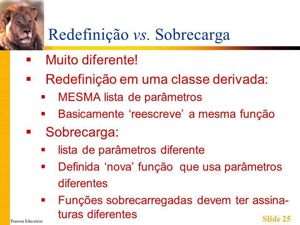 Pearson Education Slide 25 Redefinição vs. Sobrecarga Muito diferente.