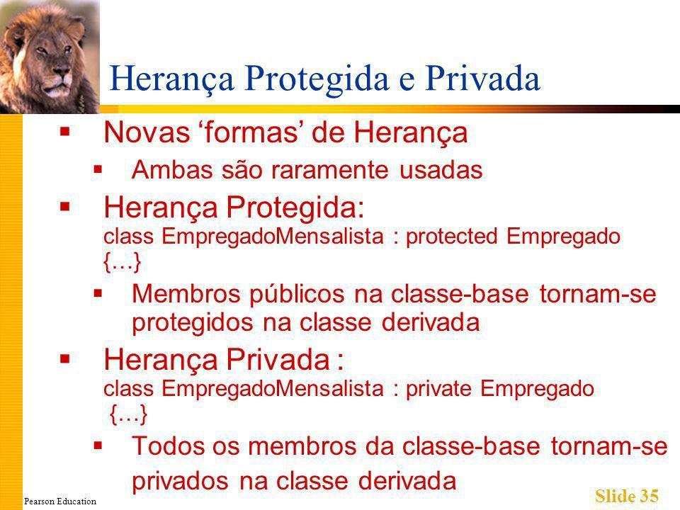 Pearson Education Slide 35 Herança Protegida e Privada Novas formas de Herança Ambas são raramente usadas Herança Protegida: class EmpregadoMensalista : protected Empregado {…} Membros públicos na classe-base tornam-se protegidos na classe derivada Herança Privada : class EmpregadoMensalista : private Empregado {…} Todos os membros da classe-base tornam-se privados na classe derivada