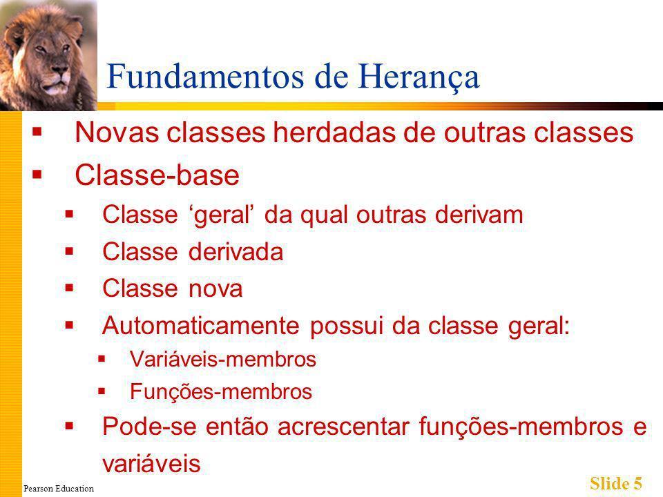 Pearson Education Slide 6 Classes Derivadas Considere o exemplo: Classe de Empregado Composta de: Empregados mensalistas Empregados horistas Ambos são subconjuntos de Empregado Outros talvez recebam salários fixos, pagos mensalmente ou semanalmente